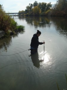A student testing water quality as part of a project